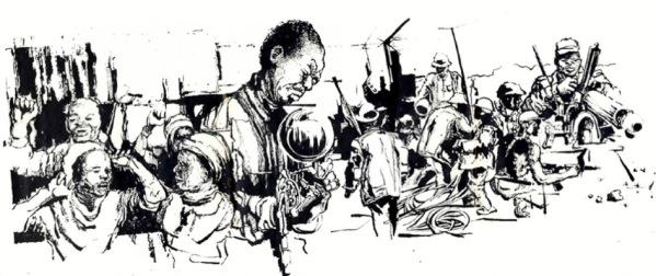 Thami Mnyele South Africa untitled pen and ink Gaborone Botswana 1984 1