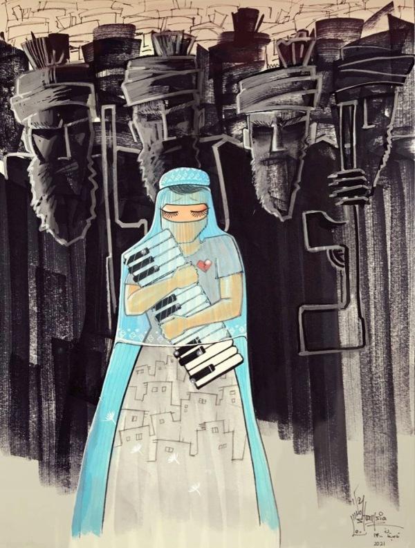 Shamsia Hassani Afghanistan Nightmare Kabus 2021 1